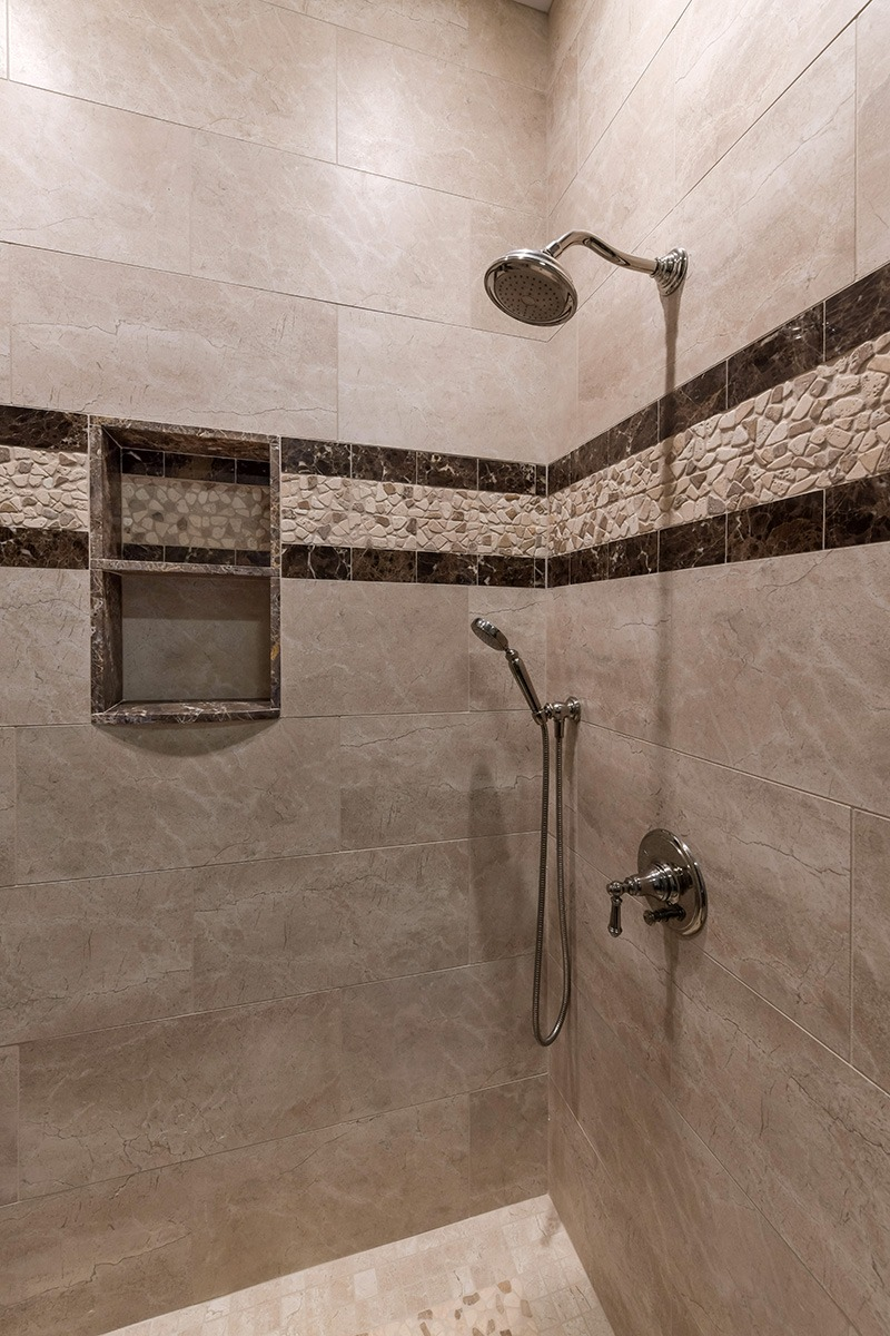 Stone stand up shower details