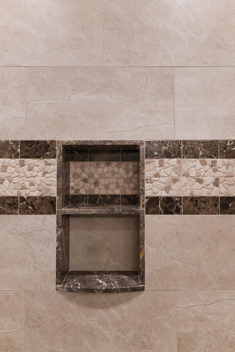 Built in stone shower shelve