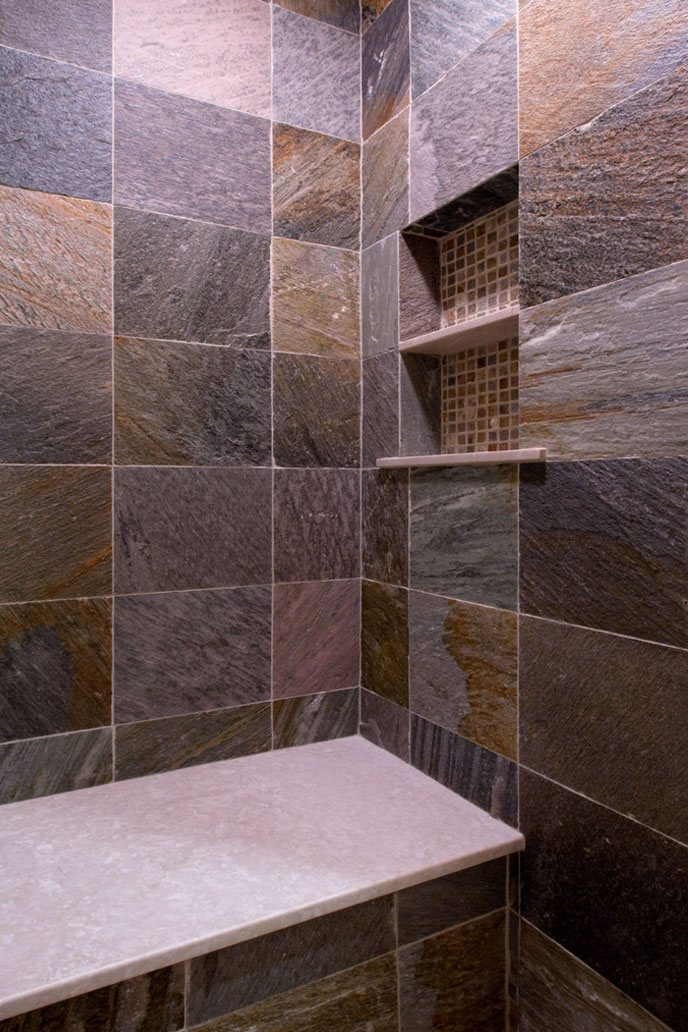 Bathroom shower stone wall