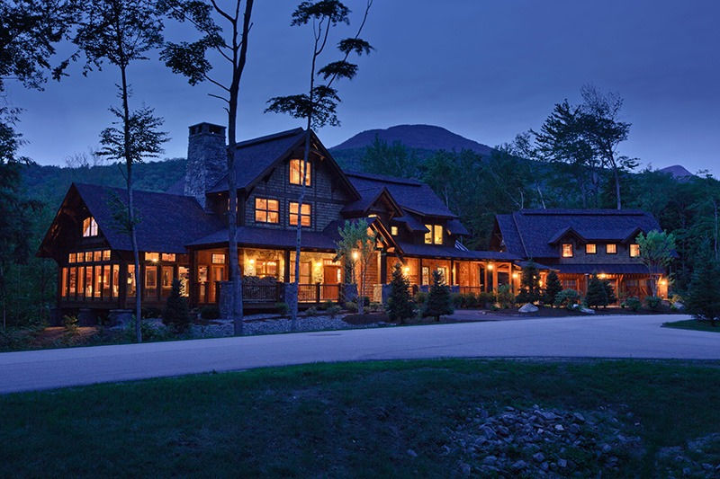Lincoln Family Ski Home at night