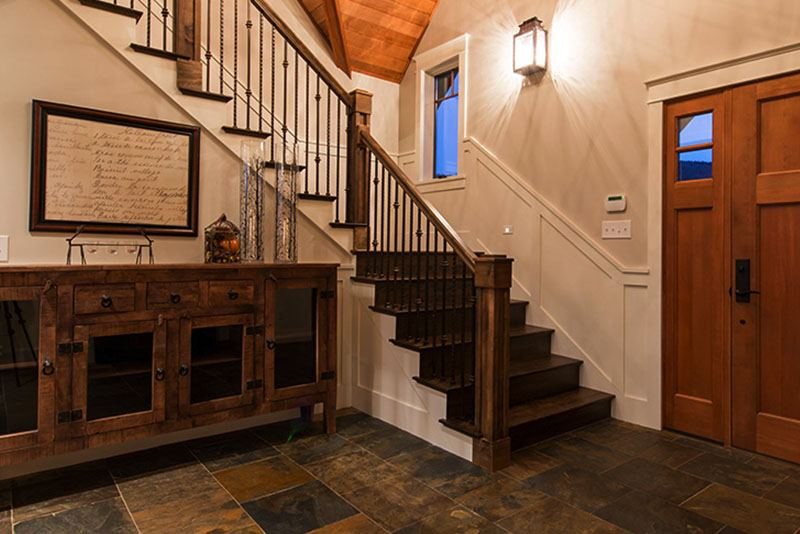 Dark solid wood stairs